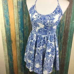 American Apparel Blue White Floral Halter Tank Top